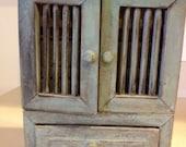Tiny Shabby Chic Hand Painted Distressed Cabinet, Jewelry Box, Storage Box or Salt Cellar