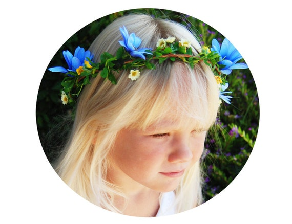 """Blue and Yellow Floral Crown- Wedding Halo- Woodland Fairy Crown-""""French Country"""""""