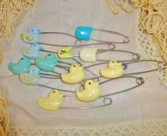 Vintage Diaper Pins, Shabby, Ducks, Adorable, Rustic