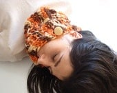 Women hand knit chunky cowl - orange (tangerine) and brown scarf with buttons - AlexMalexDesigns