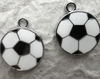 10pcs Enameled SOCCER/FOOTBALL Charm Pendants (a-7)