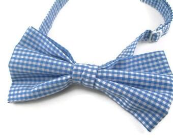 Cornflower blue ginham bowtie