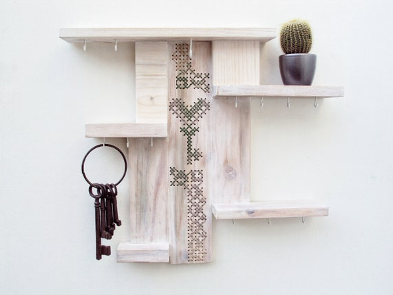 Shelf Key Holder Organizer Cross Stitch Decor Whitewashed Upcycled Wood