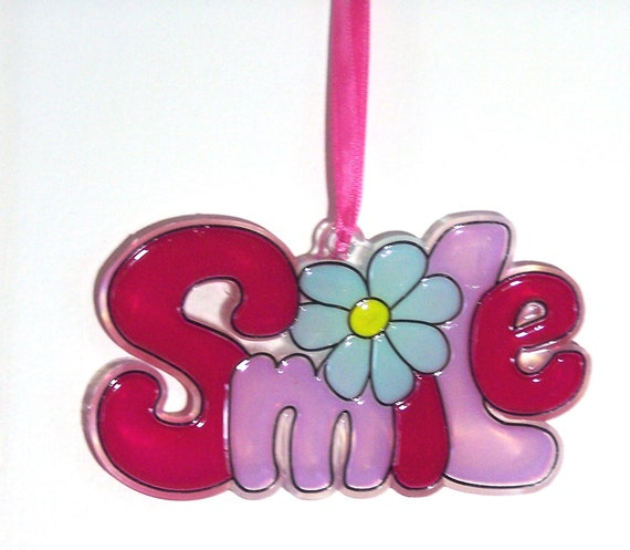 ORNAMENT - SMILE- Acrylic - Wine - Lilac Light Blue - Yellow - Handpainted Home Decor