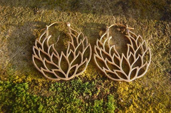 gold earrings, hoop earrings, Lotus Earrings, hand Crafted, hoops, Gold Silver, gifts for her