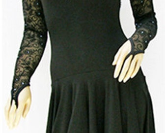 Latin Dance Costume, Classic and elegant black latin dance dress