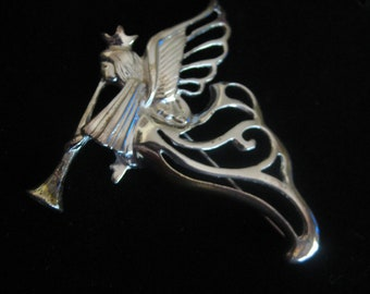 Vintage Large Trumpeting Angel Silver Plated Brooch Pin