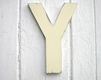 "Rustic Wooden Letter Y 12"" Antique White Wall Hanging Shabby chic Home decor Gifts wall decor"