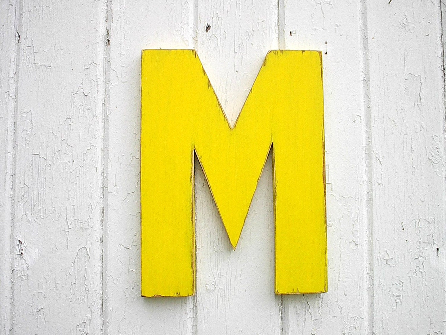 Kids wooden wall decor letter m 12 inch yellow nursery wall for Wall decoration items
