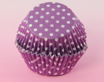 50x, 2'' Standard Size Cupcake Liners, Baking Cups, Purple and White Polka Dot, 2'' x 1 1/4''