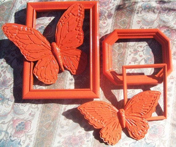 Retro orange picture frames set of 3 with matching orange butterflies set of 2 upcycled recycled painted