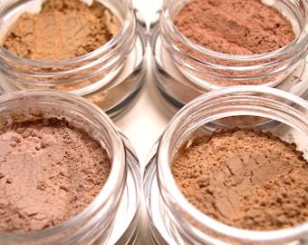 Mineral Makeup Foundation Samples - 4pc Makeup Set - Natural Vegan & Gluten-Free Makeup