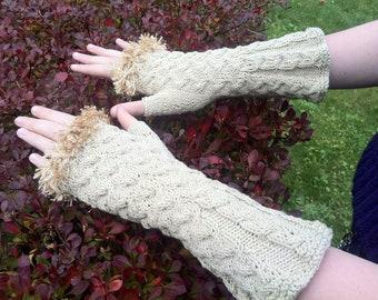 Knitted Fingerless Mittens Gloves Arm Wrist