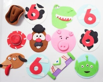 Edible Toy Cupcake Toppers Toy Story 12 qty Mr Potato Head, Toy Rex, toy dog, space ranger, pig, cowboy hat, red cowgirl hat