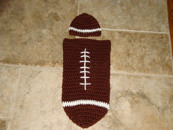 Free Printable Crochet Patterns For Baby Cocoons : Pdf PATTERN Crocheted Baby Football Hat and Cocoon Set