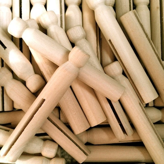 10 Wooden Clothes Pins Wood Clothespin Dolls 3.75 INCH