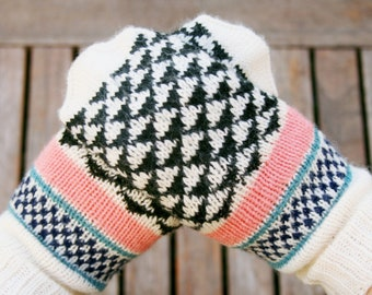 Triangles // handknit womens mittens made from pure  wool