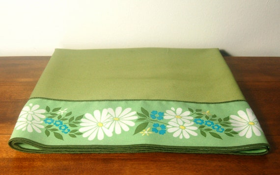 Vintage Tablecloth - Retro Green Tablecloth with Flowers