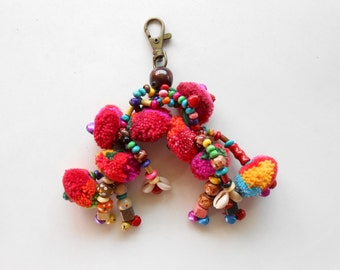 Colorful Little Claw Pom Poms Keychain Zip Pull Bag Accessory Decoration by Handmade. (AC1003)