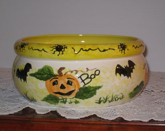 "Ceramic Halloween Bowl, hand painted by Joan Davis, 4"" high and 8 1/2"" wide"