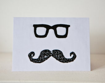 Mr Moustache Greetings Card