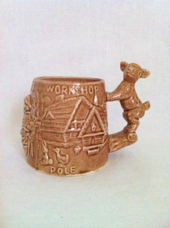 Vintage rare brown majolica Santa Claus mug stein woodland decor with reindeer handle