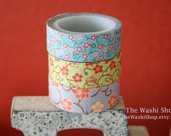 Japanese Flower Washi Tape Set of 3