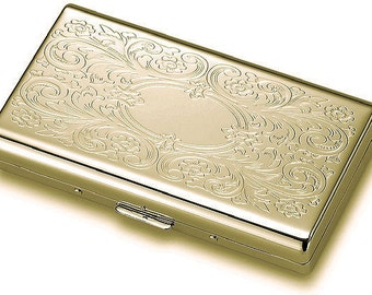 Personalized Gold Flip-Open Double Sided Cigarette Case Custom Engraved Free
