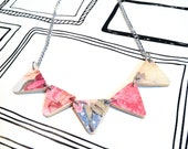 Plywood bunting necklace in Nanna Prints