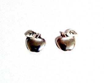 Apple Stud Earrings silver teacher apple post earrings Handmade Gift