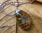 Garden in Quartz ,Natural Crystal Quartz With Mossy Inclusions of Chlorite,Orange And Purple, Wire Wrapped Pendant,Mineral Jewelry