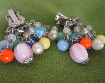 Antique Funky Multi Color Glass Bead Dangle Earrings
