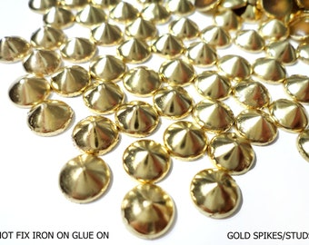 DIY Studs - 100 PCS 8 mm Gold Spikes Studs Iron On, Hot Fix