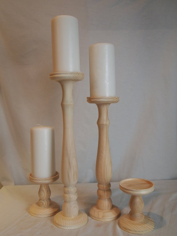 Unfinished tall pillar candle holder set of 4 - Unfinished wood candlestick holders ...