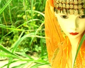 A Golden Belly chin coins ,Dancing gypsy, vintage Veil Hat