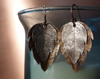 Silver and Brass Hammered Leaf Earrings