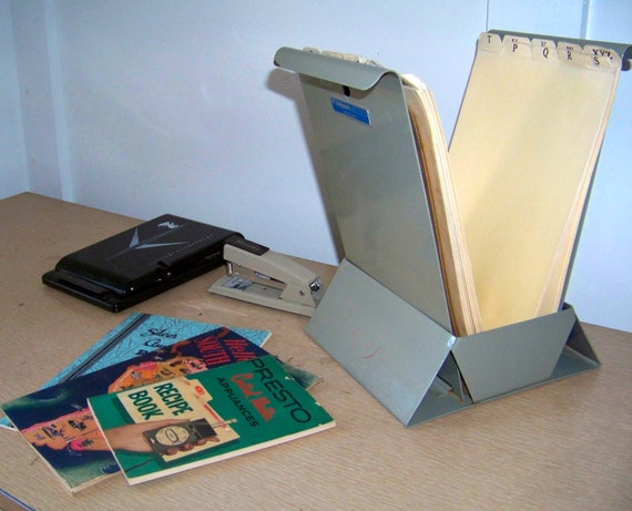industrial metal flip file with letter tabs  ephemera sorter