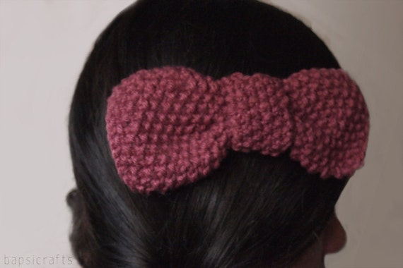 large vegan acrylic knit bow hair clip in vintage pink