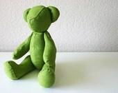 Handmade Teddy Bear in Natural Linen: Olive Green