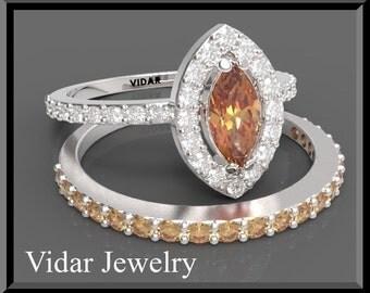 Orange Sapphire And Diamond Wedding Ring Set.Engagement Ring set. Bridal Wedding Band.14k White Gold,halo,unique.