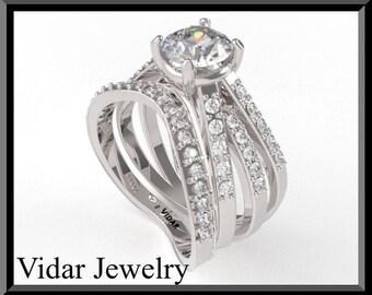 Moissanite Wedding Ring Set.Wedding Bridal Engagement  Ring set,unique,custom,Diamond Wedding Ring Set,Unique Engagement Ring Set