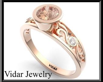 Morganite Engagement  Ring,Diamond Engagement Ring,Bridal,Wedding Ring.Unique Engagement Ring,Pink Engagement Ring,Rose gold Engagement.