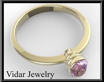 Engamenet Ring,Amethyst engagement ring,Purple engagement Ring,Solitaire Engagement Ring,Unique Engagement Ring, Yellow gold,Custom,Oval