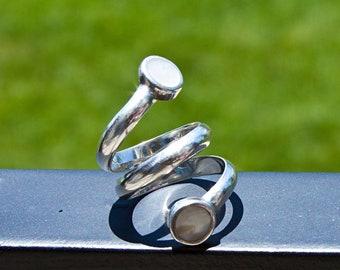 Silver Ring White Gemstone