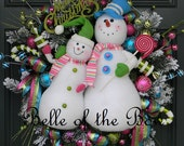 Mr & Mrs Snow, Large Snowman Christmas Wreath, Snowmen in Frosted Candy Land of Pink Green Blue Snow Wreaths