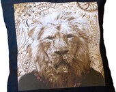 Asian Lion Cushion Cover - Black and Cream Decorative Indian