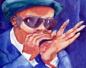 Music Art Blues Harp Player 8x10 Watercolor Print