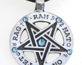 Pewter Inverted Pentagram Tetragrammaton Runes Pendant with Swarovski Crystal Aquamarine Blue MARCH Birthstones (55C)