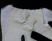 CUSTOM ORDER Black and White Baby Outfit With Booties and Hat