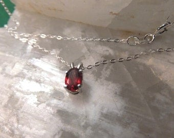 "6x4mm Garnet & Sterling Silver 18"" Necklace"
